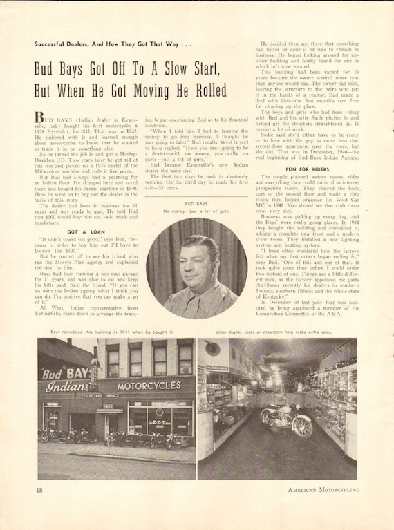 1950 Bud Bays Indian Motorcycle Dealer Evansville, Indiana 1-Page Article #5006amot08