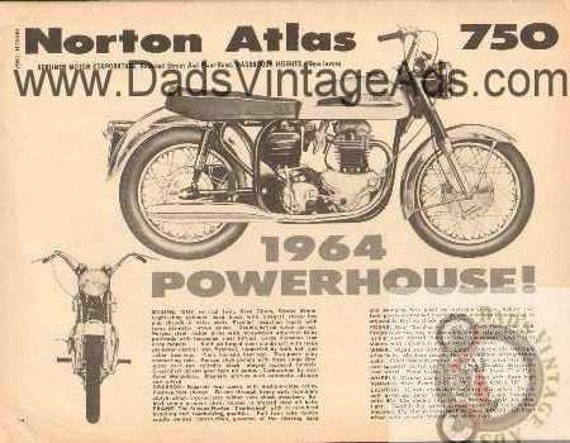 1964 Norton Atlas 750 Powerhouse Vintage Motorcycle Ad #bv6403a07