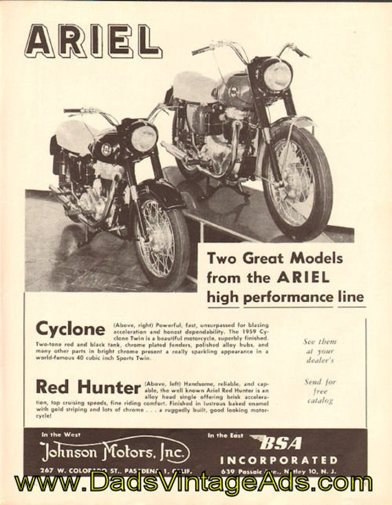 1959 Ariel Cyclone and Red Hunter Ad #5907amot04