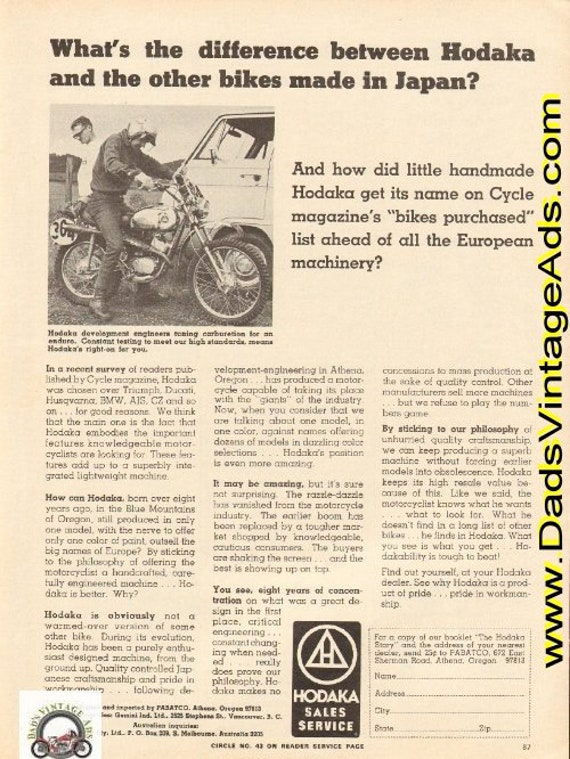 1972 What's the difference between Hodaka and the other bikes made in Japan? Ad #e72fa09