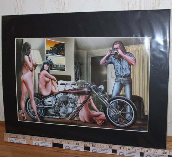 "David Mann ""Photo Shoot"" 16'' x 20'' Matted Motorcycle Biker Chopper Art #8201ezrxm"