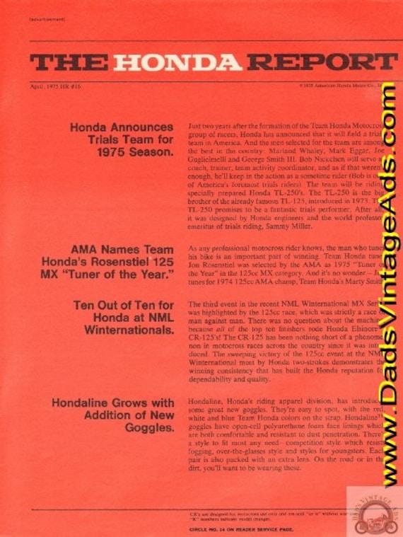 1975 Honda Report #16 April Annouces Trials Team Vintage Motorcycle Ad #e75da07