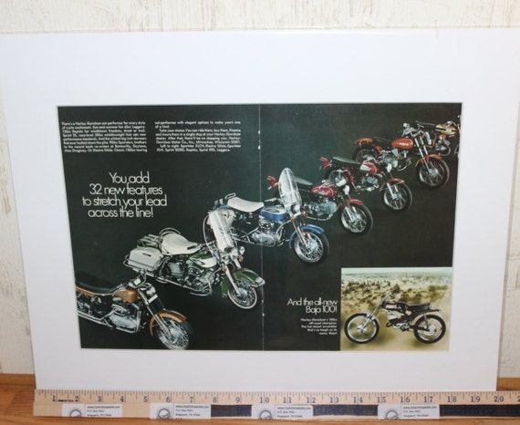 1970 Harley-Davidson Motorcycles 16'' x 20'' Matted Vintage Ad #modc69ia18m