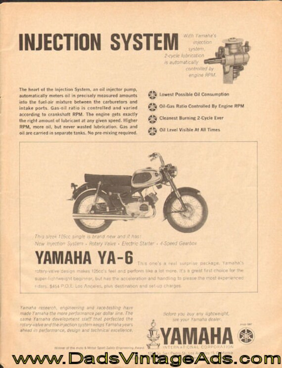 1963 Yamaha YA-6 Injection System Ad #d64ga19