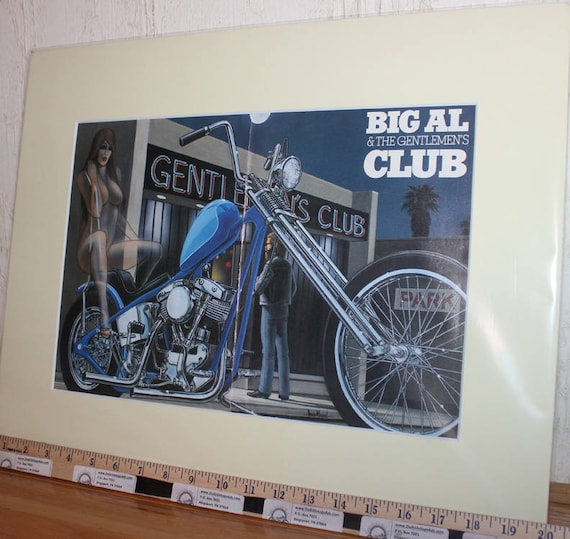 "David Mann ''Big Al & The Gentlemen's Club"" 16'' x 20'' Matted Easyriders Biker Motorcycle Art #9506ezrxmc"