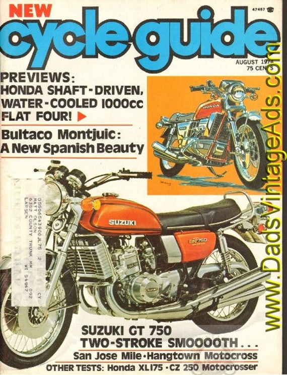 1974 August Cycle Guide Motorcycle Magazine Back-Issue #7408cg