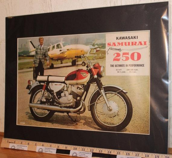 1967 Kawasaki Samurai 16'' x 20'' Matted Vintage Motorcycle Ad Art #d66ia33m