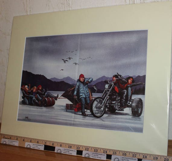 David Mann ''Ice Fishing'' 16'' x 20'' Matted Motorcycle Biker Art #8703ezrxmc