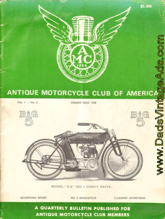 1968 Summer Vol. 7 No. 2 The Antique Motorcycle Magazine Back-Issue #0702antm