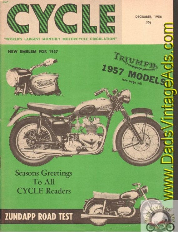 1956 December Cycle Motorcycle Magazine Back-Issue #5612cyc