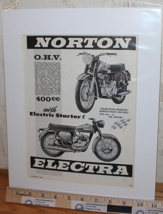 1963 Norton Electra 400 w/ Electric Starter! - 11'' x 14'' Matted Ad #d63ka05m