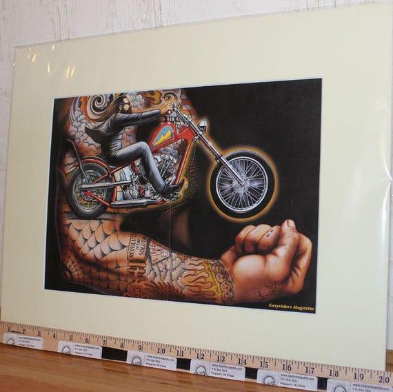 David Mann ''Power To The Putt!'' 16'' x 20'' Matted Motorcycle Biker Art #9210ezrxmc
