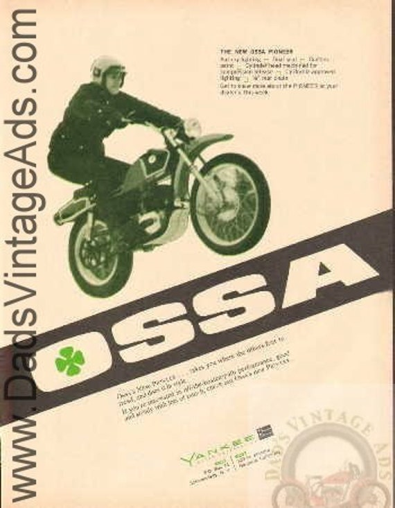 1970 OSSA Pioneer Vintage Motorcycle Print Ad #bf7005a16
