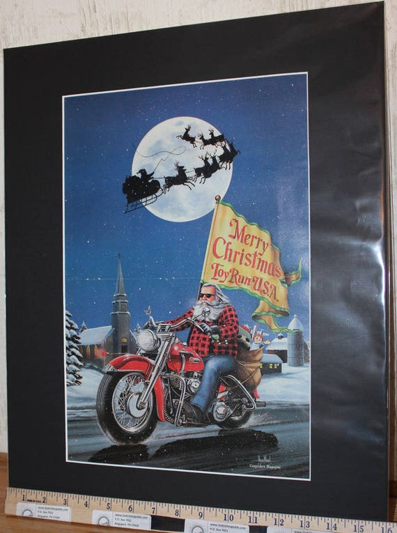 "David Mann ""Christmas Card"" 16'' x 20'' Matted Biker Art #8801ezrxmb"