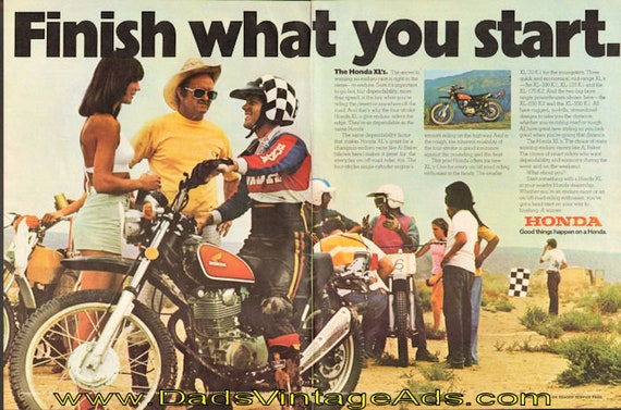 1974 Honda XL's ''Finish What You Start'' Ad #e74la08