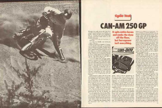 1975 Can Am 250 GP Motocross Motorcycle Test 7-Page Article #nai09