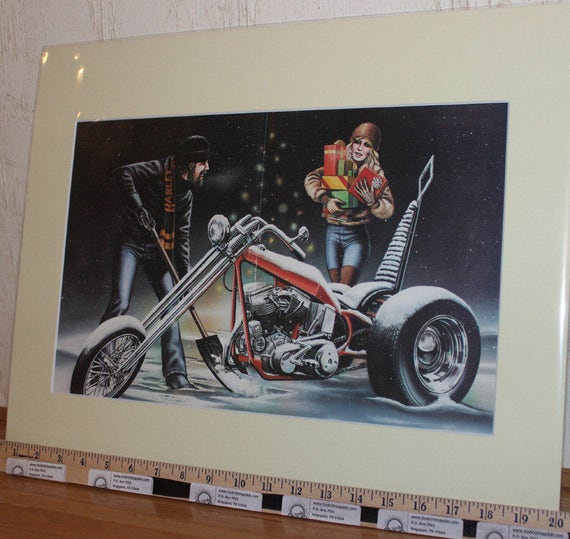 "David Mann ""White Christmas"" 16"" x 20"" Matted Motorcycle Biker Art #8101ezrxm"