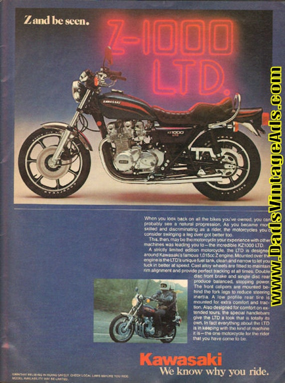 1977 Kawasaki Z-1000 LTD - ''Z and be Seen'' 1-Page Ad #d77ia10