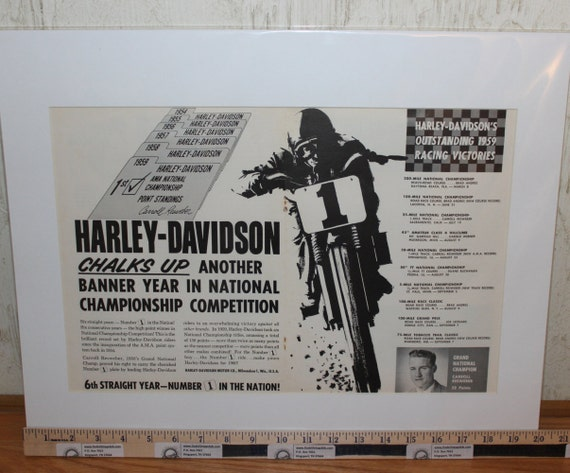 "1960 Vintage Harley-Davidson Carroll Resweber 16"" x 20"" Matted Print Motorcycle Ad / Art / Poster 6002amot02m"