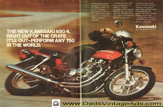 1976 Kawasaki 650/4 will outperform any 750 in the world 2-Page Ad #e76la08