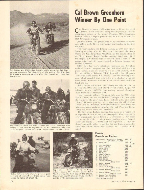 1958 Cal Brown Greenhorn Winner By One Point 1-Page Article #5807amot05