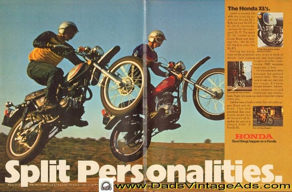 1974 Honda XL125 and XL250 - Split Personalities 2-Page Ad #d74fa06