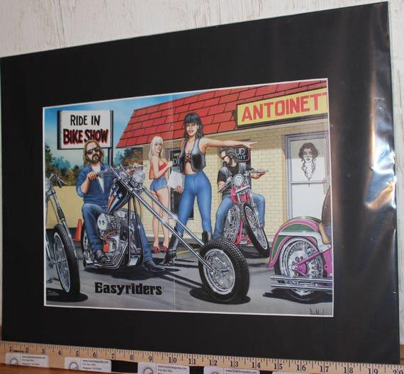 "David Mann ""Ride-In Bike Show"" 16'' x 20'' Matted Biker Art #9711ezrxmb"