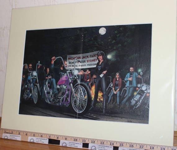 David Mann ''Michigan Jack Party Benefit For Stoney'' 16'' x 20'' Matted Motorcycle Biker Art #8705ezrxmc