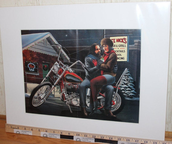 David Mann ''Christmas Gift'' 16'' x 20'' Matted Biker Art #8912ezrxmw
