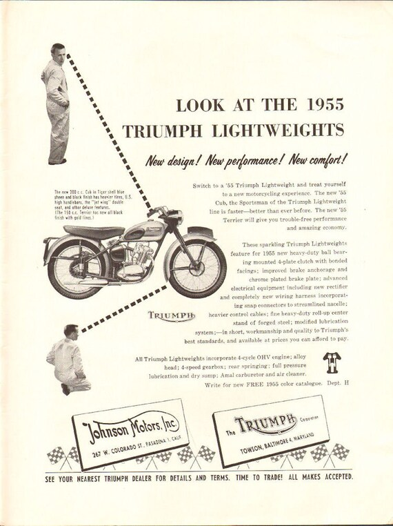 1955 Triumph Lightweight Motorcycles Ad #5504amot05