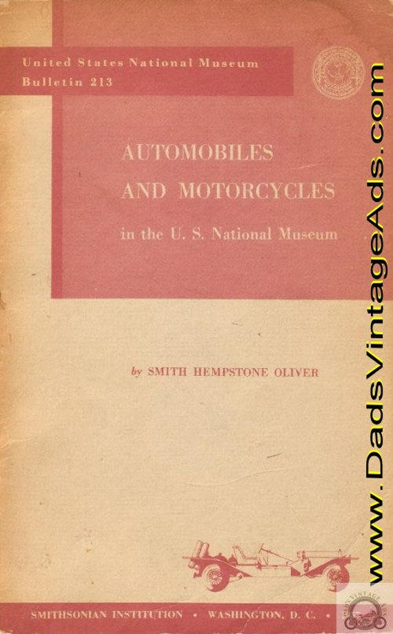 1957 U.S. National Museum Bulletin 213 - Automobiles and Motorcycles #mb256