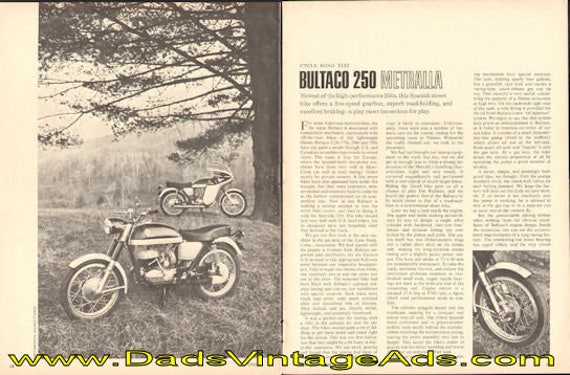 1967 Bultaco 250 Metralla Road Test 5-Page Article #e67ba15