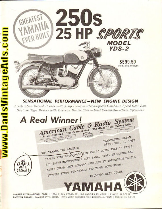 1963 Yamaha 250s Sports Model YDS2 Motorcycle Ad #6301amot01