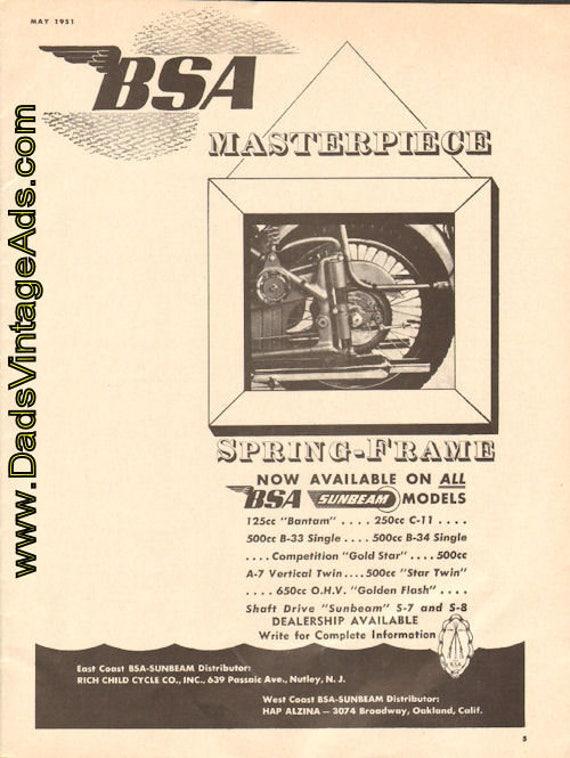 1951 BSA Masterpiece Spring-Frame Ad #e51ea05
