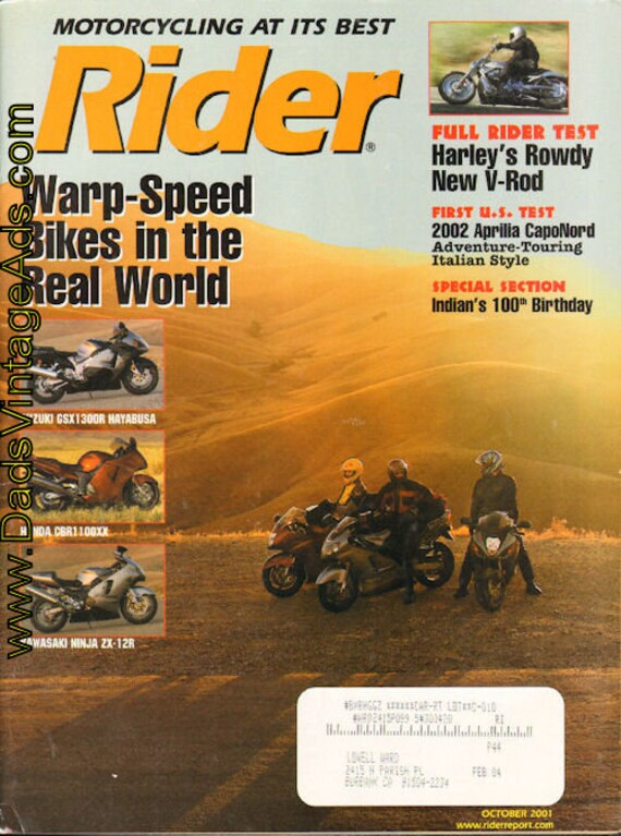 2001 October Rider Motorcycle Magazine Back-Issue #0110rdr