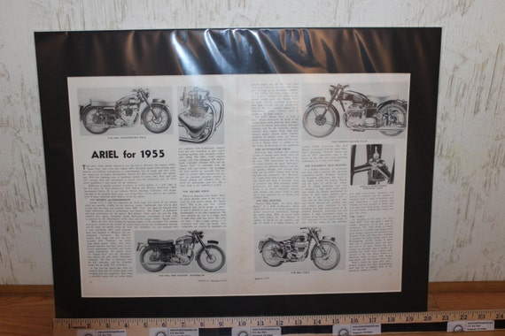 1955 Ariel Motorcycle Range 16'' x 20'' Matted Vintage Print Article / Art #5503amot01m