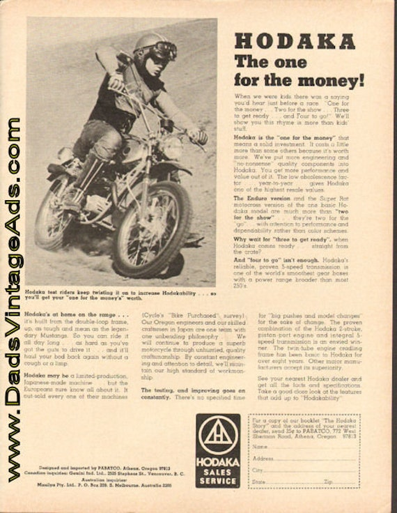 1972 Hodaka - The One for the Money! Ad #de72ga04