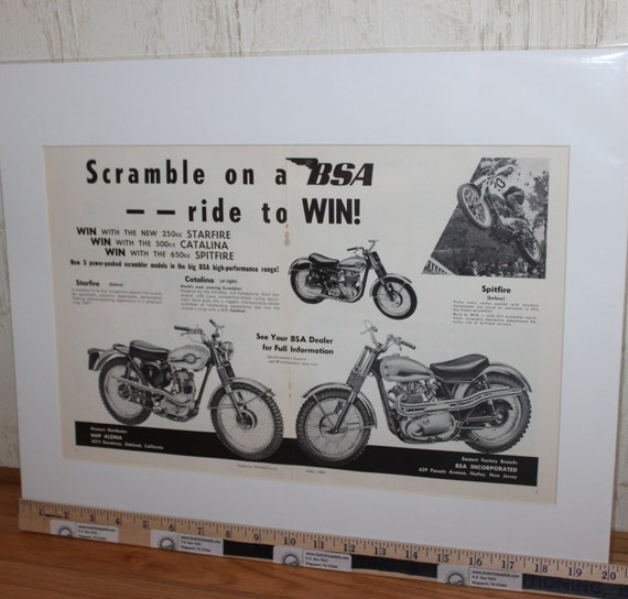 """1960 Vintage BSA Starfire Catalina Spitfire Motorcycles 16"""" x 20"""" Matted Motorcycle Ad / Art / Print / Poster #6004amot10m"""