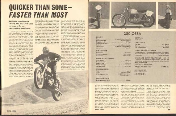 1969 Ossa 250 Stiletto Motorcycle Road Test 5-Page Photo Article #nao03