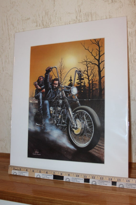 "David Mann ""Turkey Steals A Turkey"" 16'' x 20'' Matted Motorcycle Biker Art #8211ezrxm"