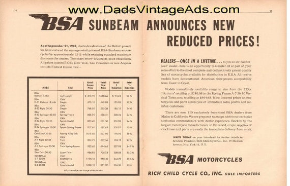 1949 BSA Sunbeam Announces new reduced prices! 2-Page Ad #t49ja03
