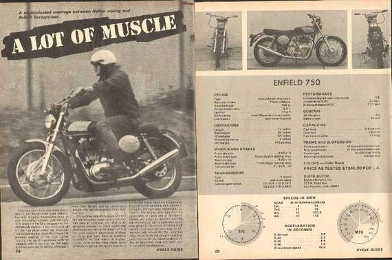 1969 Clymer Indian Enfield 750 Motorcycle Test 5-Page Photo Article #nao07