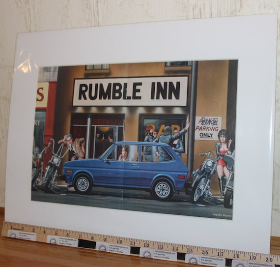 "David Mann ""Rumble Inn"" 16'' x 20'' Matted Motorcycle Biker Art #8411ezrxm"