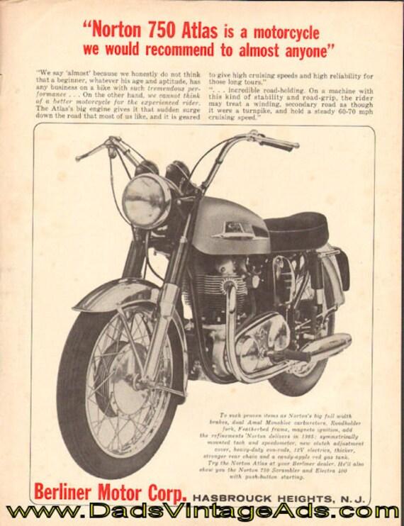 1965 Norton 750 Atlas / Berliner Motor Corp. Vintage Ad #e65ea04