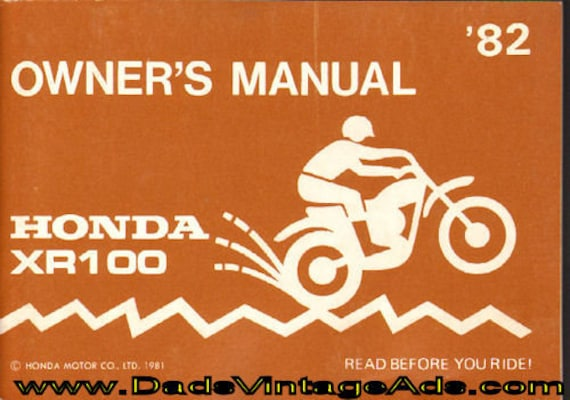 1982 Honda XR100 Owner's Manual #mm119