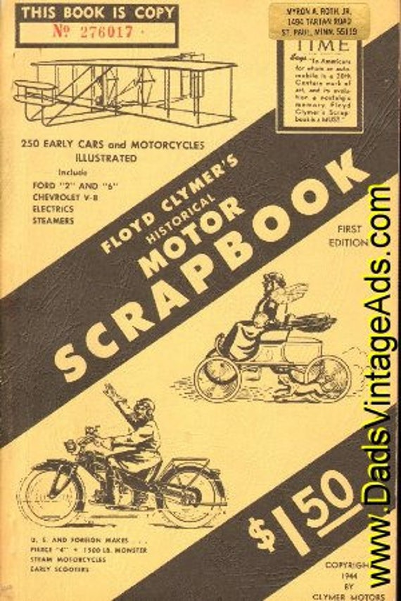 1944 Floyd Clymer's Historical Motor Scrapbook Time Magazine Copy #mb191