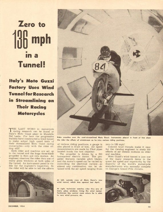 1954 Moto Guzzi Motorcycle Wind Tunnel Italy 1-Page Photo Article #m52