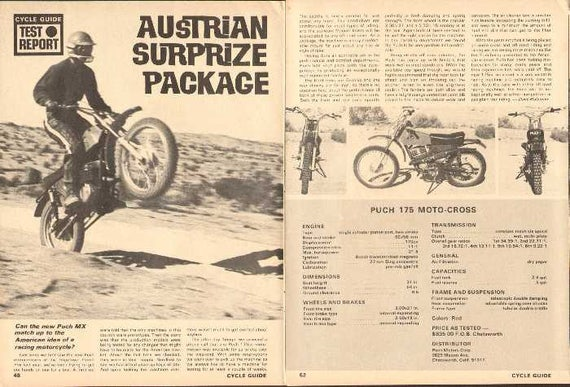 1971 Puch MX 175 Motocross Motorcycle Road Test 5-Page Photo Article #naw06