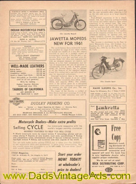 1961 New Jawetta Mopeds 1-page article #e61aa03
