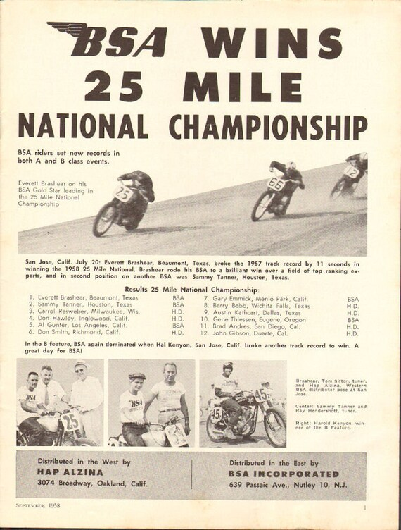 1958 BSA / Everett Brashear Wins 25-Mile Motorcycle Racing Ad #5809amot11